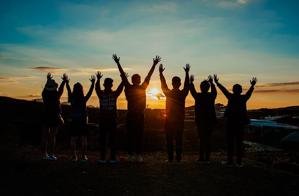 Friends, Sunrise, Young, Happy, Friendship, Sunset
