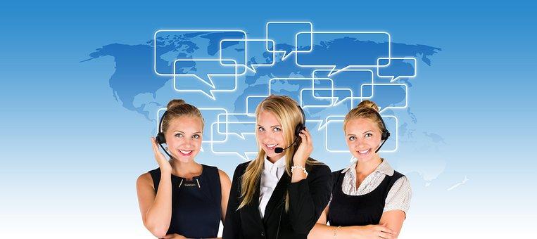 コールセンター, ヘッドセット, 女性, サービス, コンサルティング