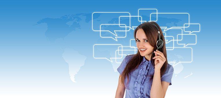 Call Center, Headset, Woman, Service