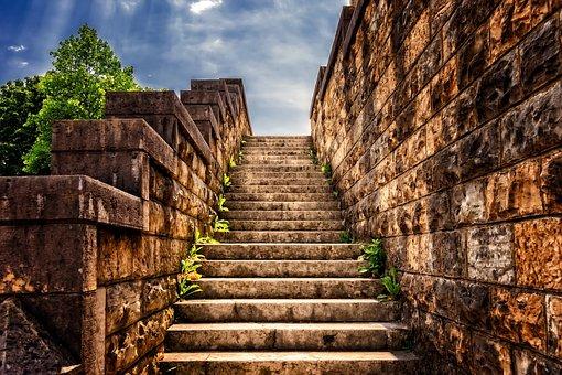 Stairs, Stone, Gradually, Stone Stairway