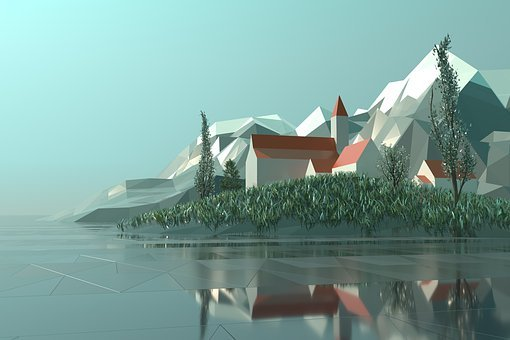 Bajo Poli, 3D, Renderizado, Ciudad