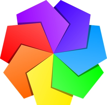 星, 五角形, 虹の色, 色, グラデーション, デザイン, 多角形, パターン