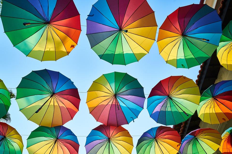 傘, ストリート, カラフルです, 色, ライブ, 元気, 美しい, デザイン, スタイル, 組成, 装飾
