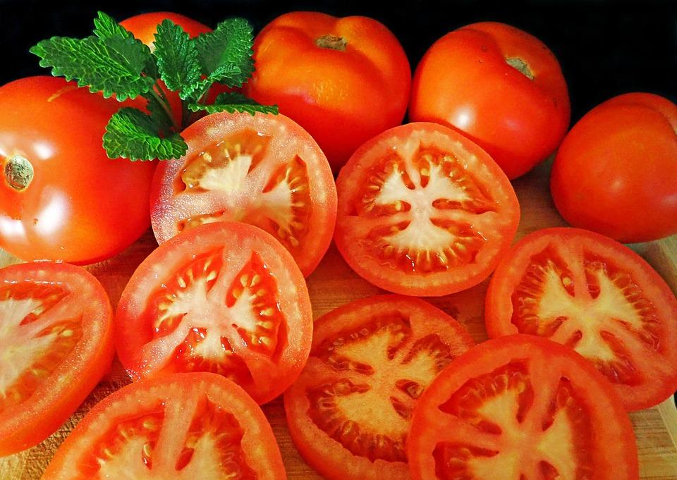 Tomatoes, Sliced, Food, Diet, Vegetables, Vegetarian