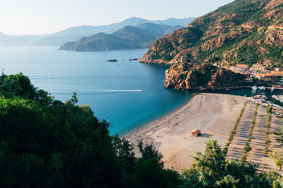 Côte, Corse, Paysage, Paysages, Collines, Plage, L'Eau