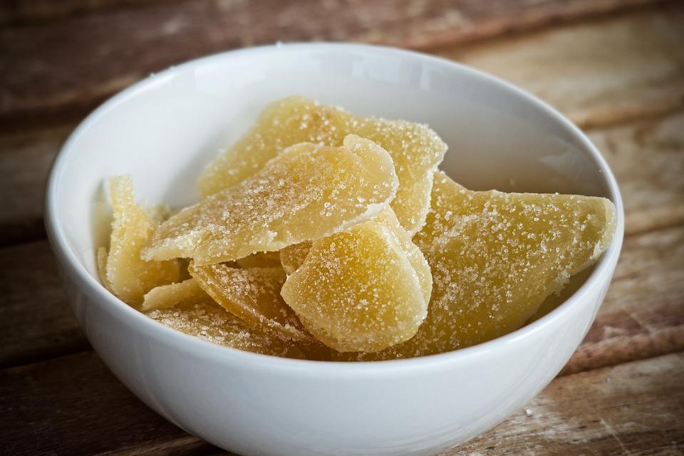 乾燥フルーツ, ジンジャー, フルーツ, 栄養, 美味しい, バイオ, 食品, 結晶化, 自然, ボウル