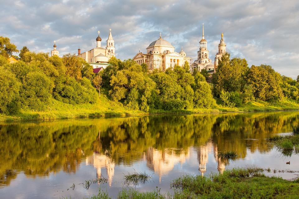 Торжок, Рассвет, Облака, Россия, Монастырь, Храм, Река