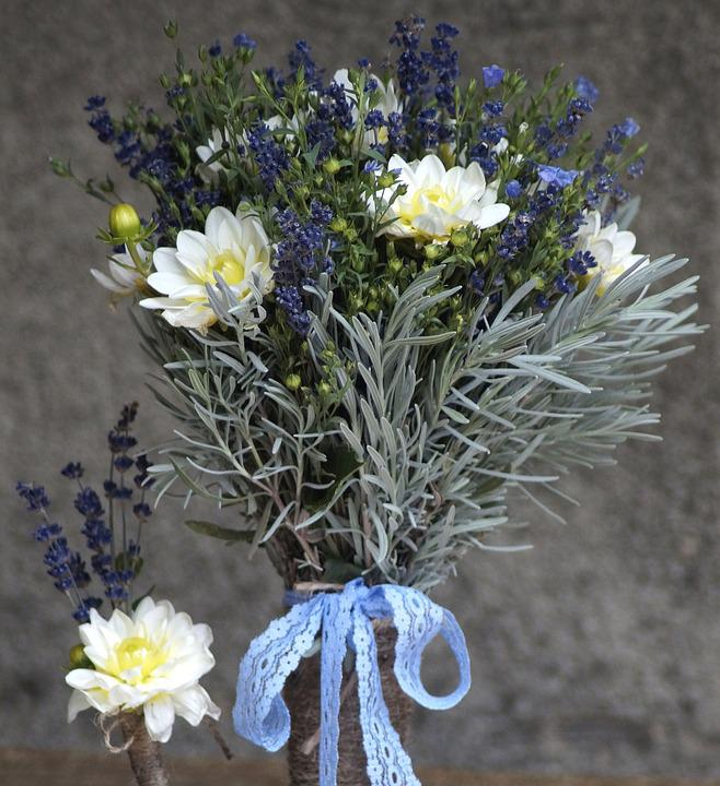 Lavendel, Lein, Strauß, Lila, Blau, Kräuter