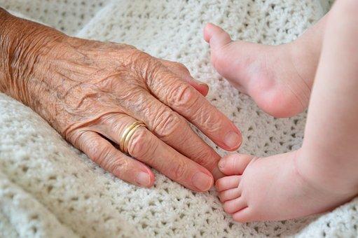 おばあちゃん, 孫, 子, 世代, 幸せです, シニア, 家族, 祖母