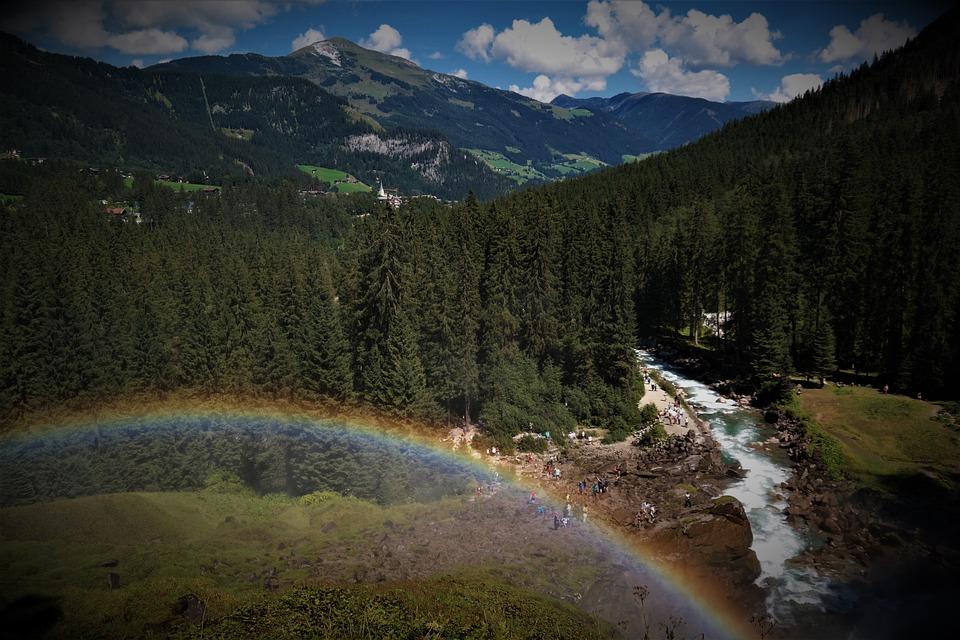 Del Arco Iris, Paisaje, Cascada, Krimml