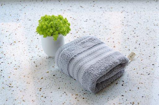 グレー, タオル, 緑の植物, メサ