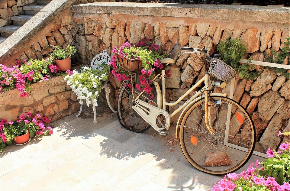 Fahrrad Blumen Mediterran Dekoration Sommer Sonnig