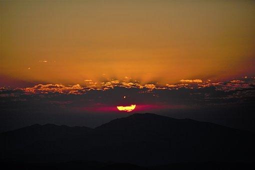 일출, 하루, 자연, 해돋이, 산, 하늘, 태양, 수평선, 빛, 구름