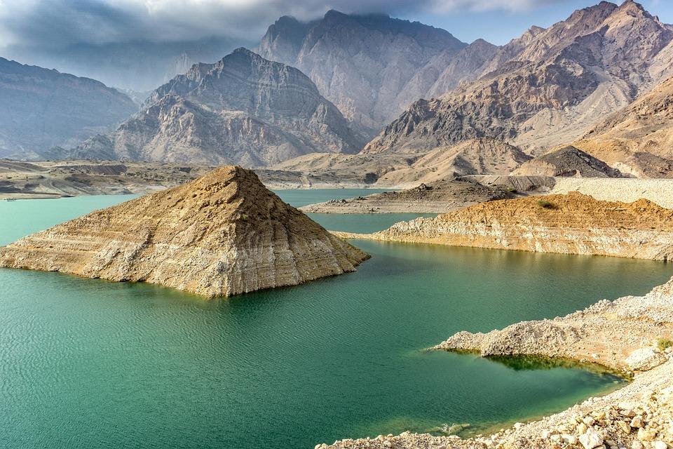 Oman, Emirates, Emirets, Berge, Wasserspeicher, See