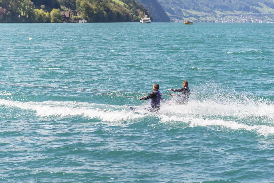 men wakeboarding
