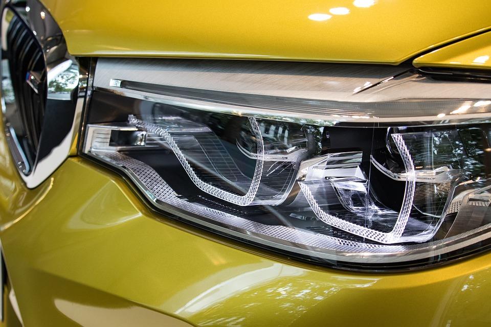 自動, スポットライト, 車両, 光沢のあります, クロム, 照明, 光, 技術, Led, 車のヘッドライト