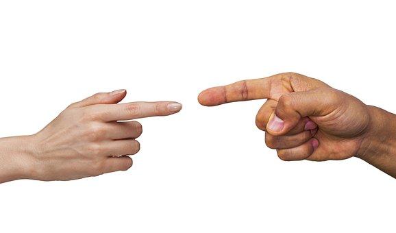 指, タッチ, 手, 男, 女性, 愛, ポインティング, ディスカッション