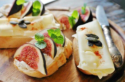 イチジク, チーズ, パン, バゲット, 食べる, 健康, 食品, ヤギ乳チーズ