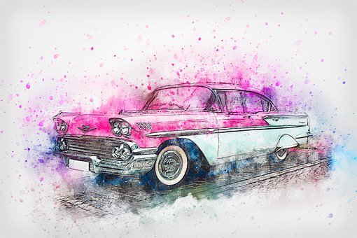 Car, Chevrolet, Oldtimer, Watercolor