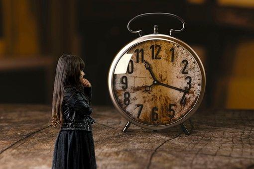 Horloge, Fille, Enfant, Pensif, Attendre