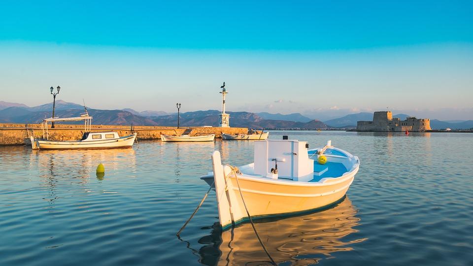 Vacances, Grèce, Nauplie, Péloponnese, Bateau, Barque