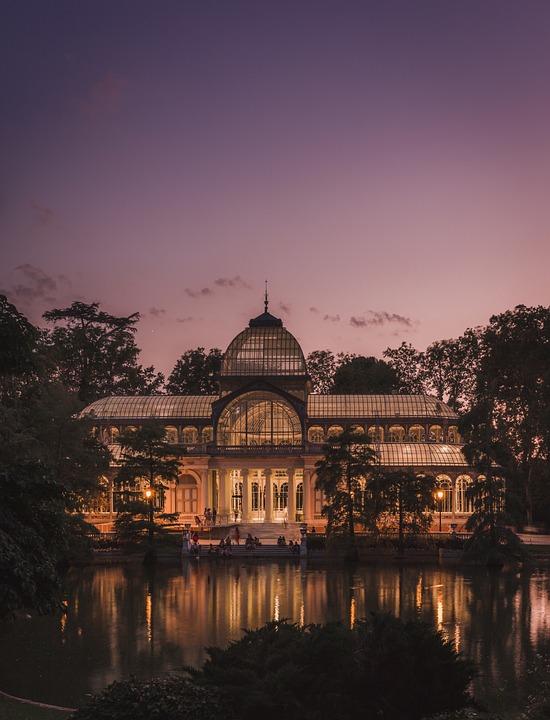 Palacio De Cristal, Madrid, Estanque, Atardecer