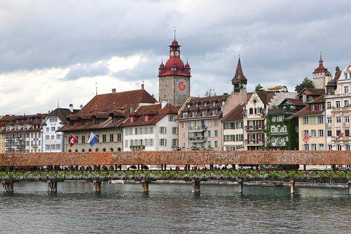 Lucerne, Switzerland, Wooden, Bridge