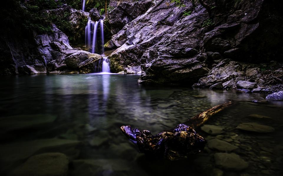 Wasserfall, Teich, Dunkel, Landschaft, Natur, Stimmung