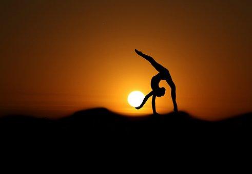 Gymnaste, Coucher De Soleil, Silhouette