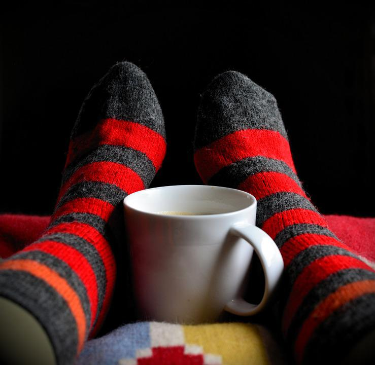 Stockings, Socks, Cup, Cozy, Relaxation, Rest, Lighting