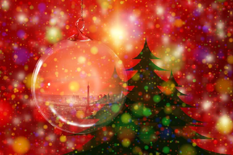 Piłka, Bombka, Drzewo, Boże Narodzenie, Choinka