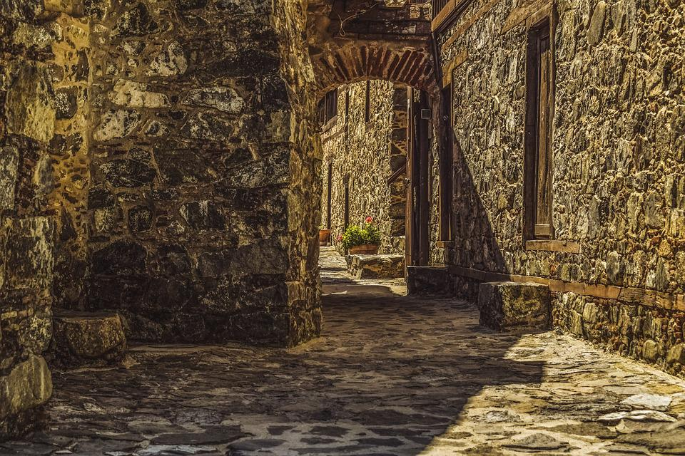 Cyprus, Kalopanayiotis, Monastery, Patio, Architecture