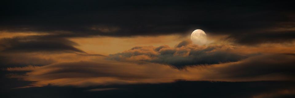 Natur, Himmel, Måne, Fullmåne, Moln, Natt
