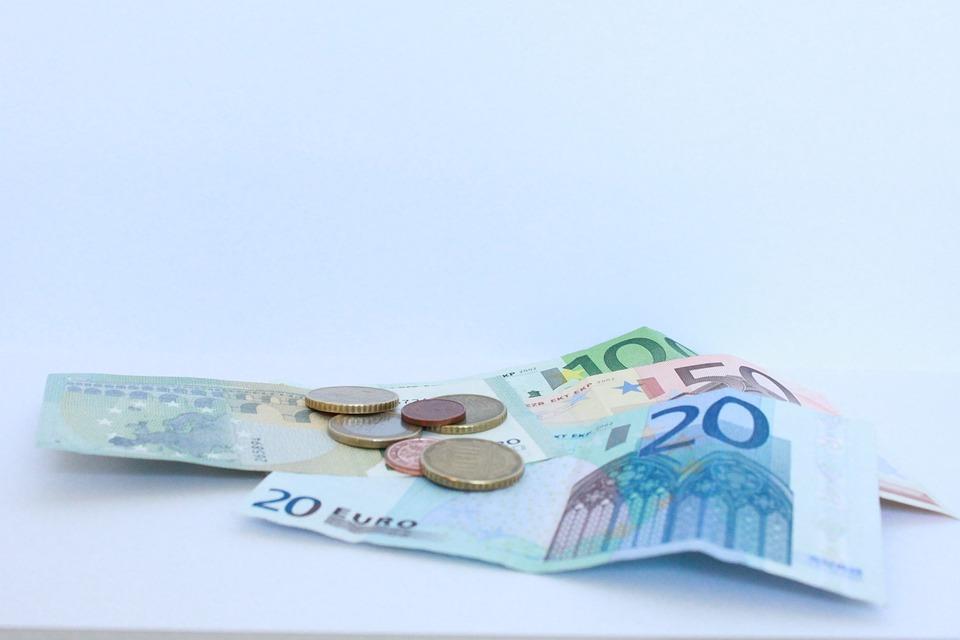 お金, 紙幣, 金融, 見える, ユーロ, 札