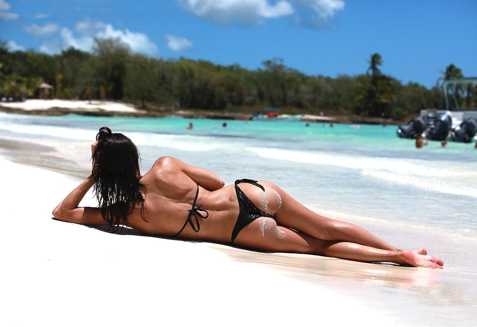 Mare, Spiaggia, Tropici, Caraibi, Ragazza, Sdraiata