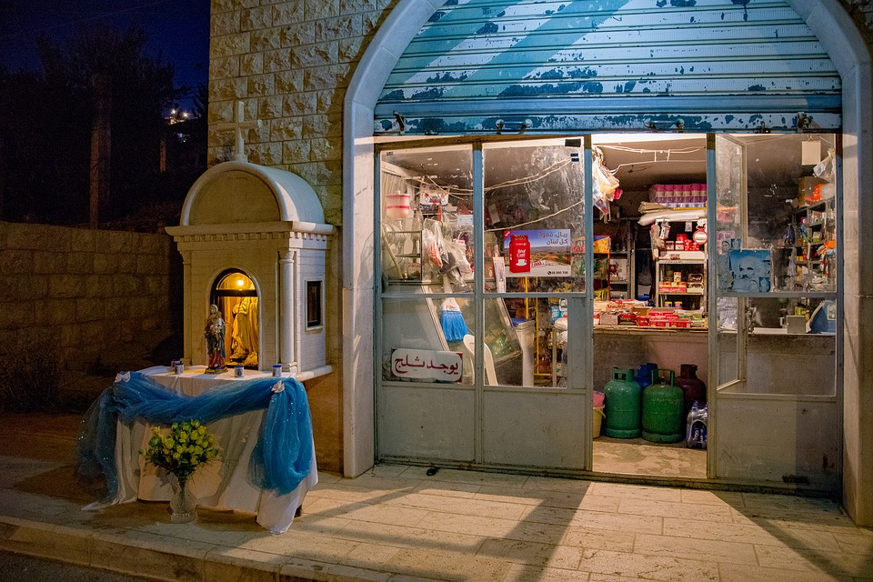 Shop, Store, Outside, Old, Virgin Mary, Altar