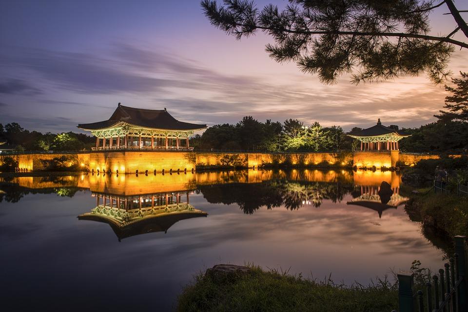 Sunset, Nightview, 史跡, 旧宮殿, Pond, 反射, ミラーリング, Landscape