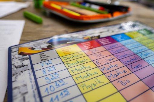 時刻表, 計画, 時間, 学校, 学ぶ, 宿題, デスク