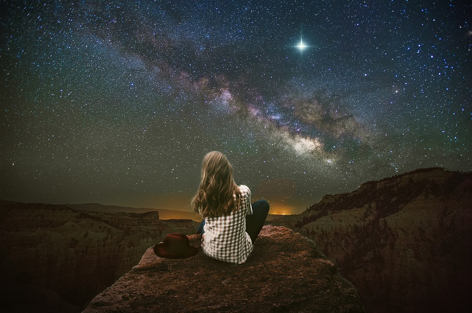 Fantaisie, Paysage, Montagnes, Étoiles, Ciel, Nightsky