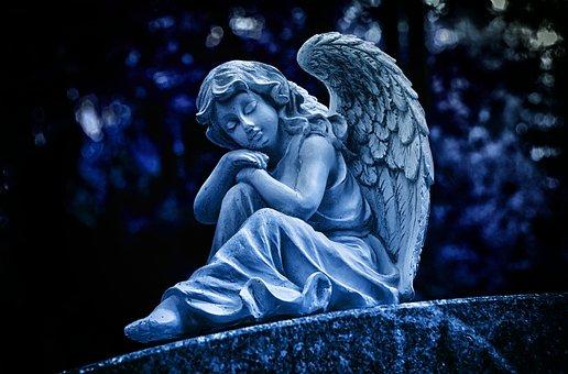 Noche, Angel, Escultura, Blanco, Figura
