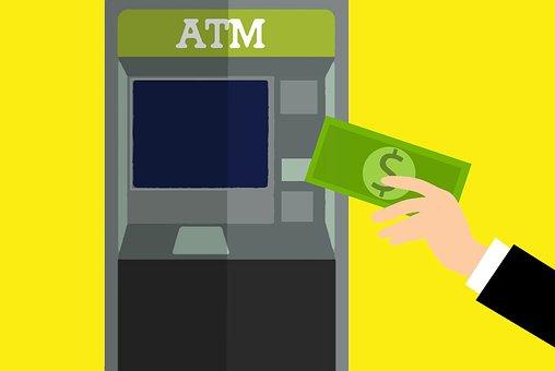 Atm, マシン, 使用してください, 画面, タッチ, 給与, 技術