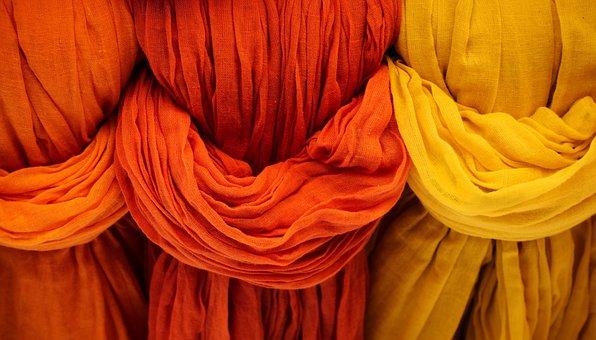 Cloth, Fabric, Red, Orange, Yellow