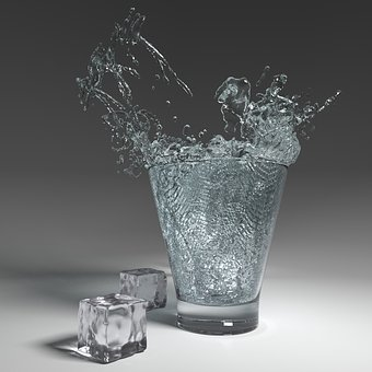 Water, Glass, Inject, Ice Cubes, Fresh