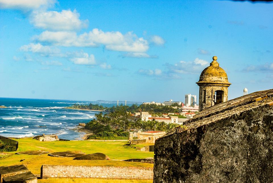 Zamek, Portoryko, Ocean, Beach, Fale, Chmury, Fort