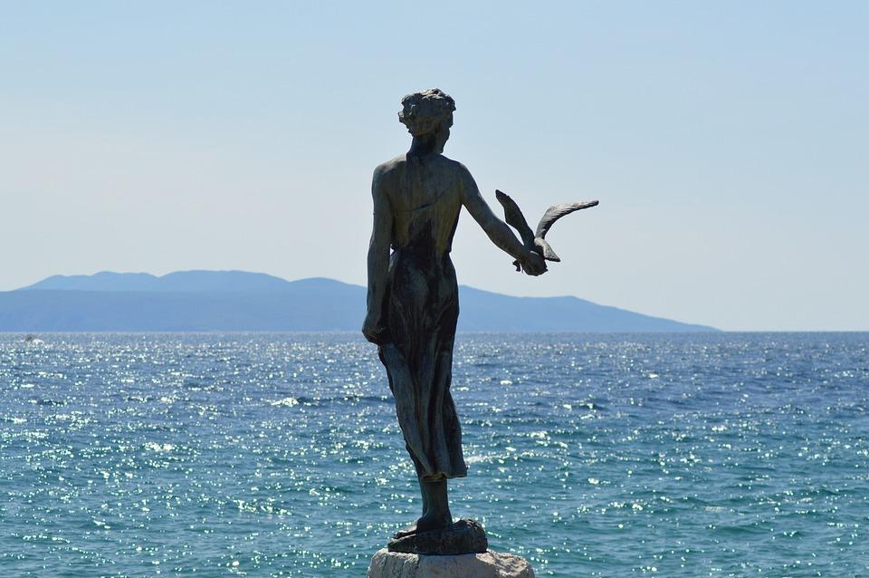 Opatija, Croatia, Sea, Adria, Statue, Water, Mountains