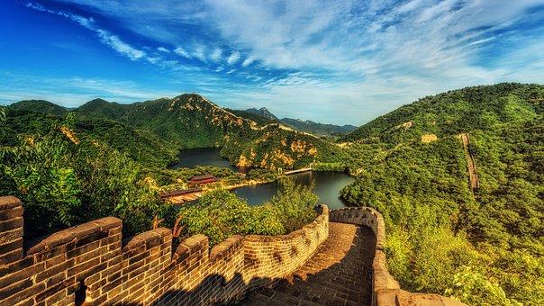 万里の長城, 中国, パノラマ, ランドマーク, 湖, 水, 風景