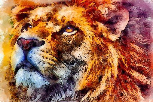 狮子, 野生, 肖像, 看, 水彩, 酿酒, 猫, 动物, 眼睛, 艺术, 情感