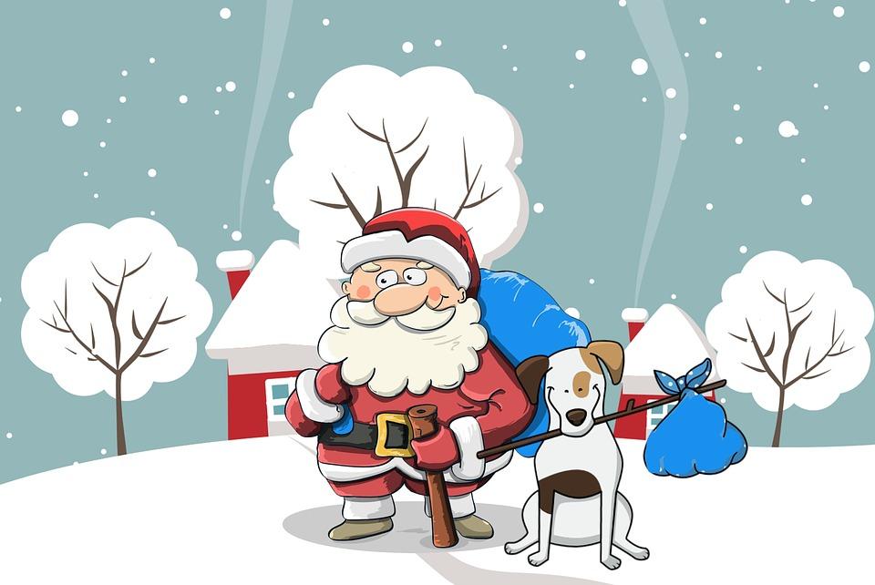 Weihnachten, Santa, Hund, Schnee, Beutel, Feier, Claus