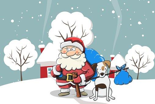 Weihnachten, Santa, Hund, Schnee, Beutel