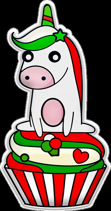 christmas unicorn cupcake green red cake - Christmas Unicorn